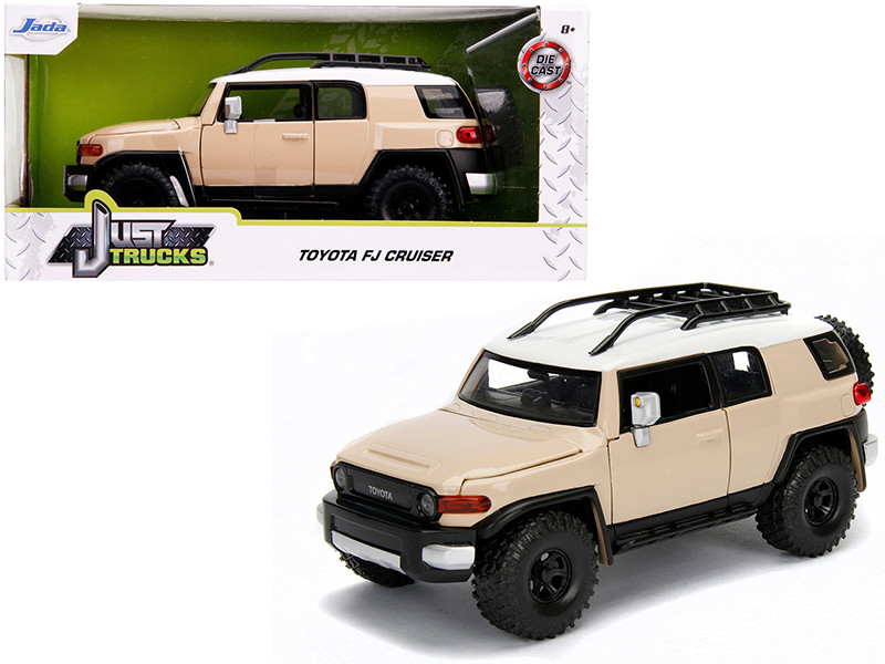 Toyota FJ Cruiser Roof Rack Beige White Top Just Trucks 1/24 Diecast Model Car Jada 99319