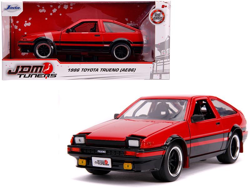 1986 Toyota Trueno AE86 RHD Right Hand Drive Glossy Red Black JDM Tuners 1/24 Diecast Model Car Jada 99577