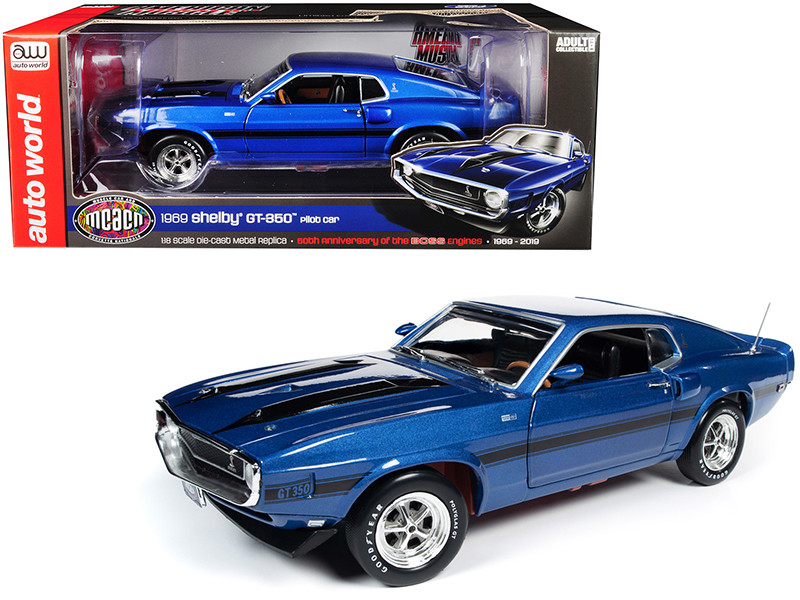 1969 Ford Mustang Shelby GT-350 Fastback Pilot Car Acapulco Blue Metallic Black Stripes Muscle Car & Corvette Nationals MCACN 50th Anniversary of the Boss Engines 1969 2019 1/18 Diecast Model Car Autoworld AMM1188