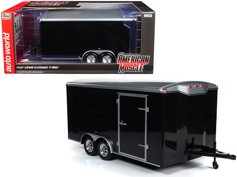 Four Wheel Enclosed Trailer Black Silver Top 1/18 Scale Model Cars Autoworld AMM1217