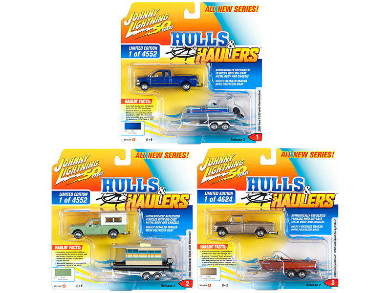 Hulls & Haulers Series 2 Set A of 3 Cars Johnny Lightning 50th Anniversary 1/64 Diecast Model Cars Johnny Lightning JLBT012 A
