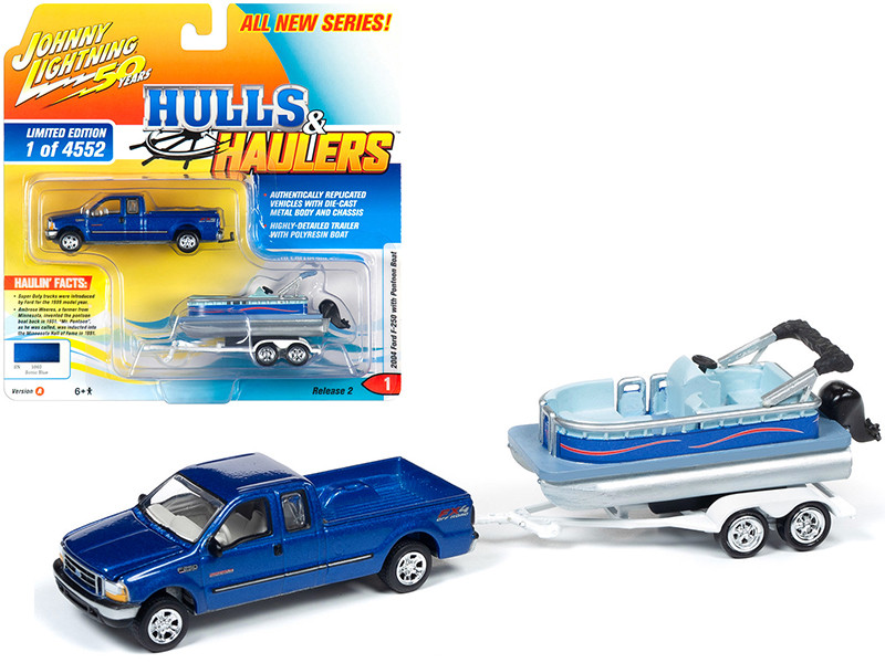 2004 Ford F-250 Pickup Truck Sonic Blue Metallic Pontoon Boat Limited Edition 4552 pieces Worldwide Hulls & Haulers Series 2 Johnny Lightning 50th Anniversary 1/64 Diecast Model Car Johnny Lightning JLBT012 A JLSP066