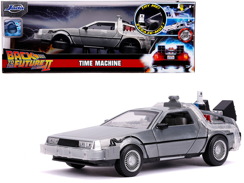 DeLorean Brushed Metal Time Machine with Lights Flying Version Back to the Future Part II 1989 Movie Hollywood Rides Series 1/24 Diecast Model Car Jada 31468