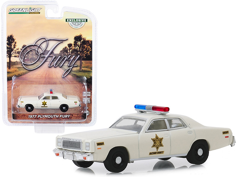 1977 Plymouth Fury Cream Hazzard County Sheriff Hobby Exclusive 1/64 Diecast Model Car Greenlight 30110