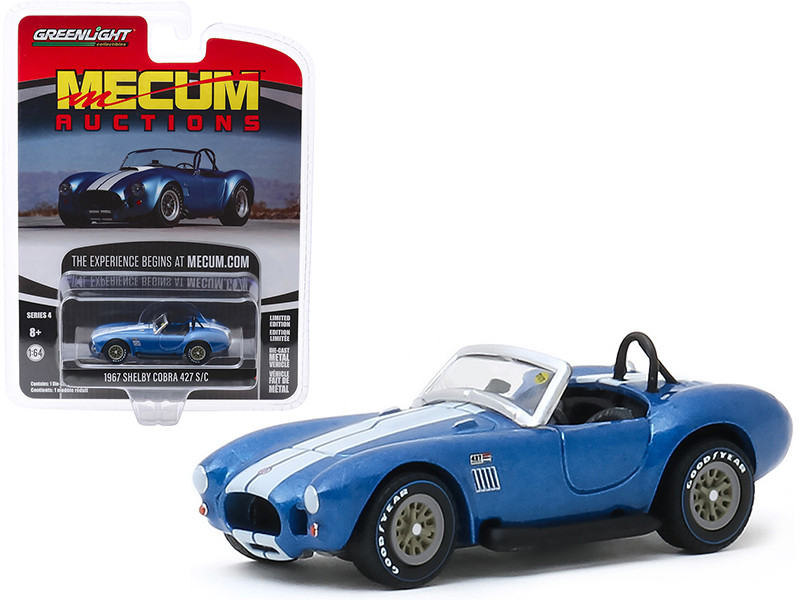1967 Shelby Cobra 427 S/C Roadster Blue Metallic White Stripes Indianapolis 2019 Mecum Auctions Collector Cars Series 4 1/64 Diecast Model Car Greenlight 37190 A