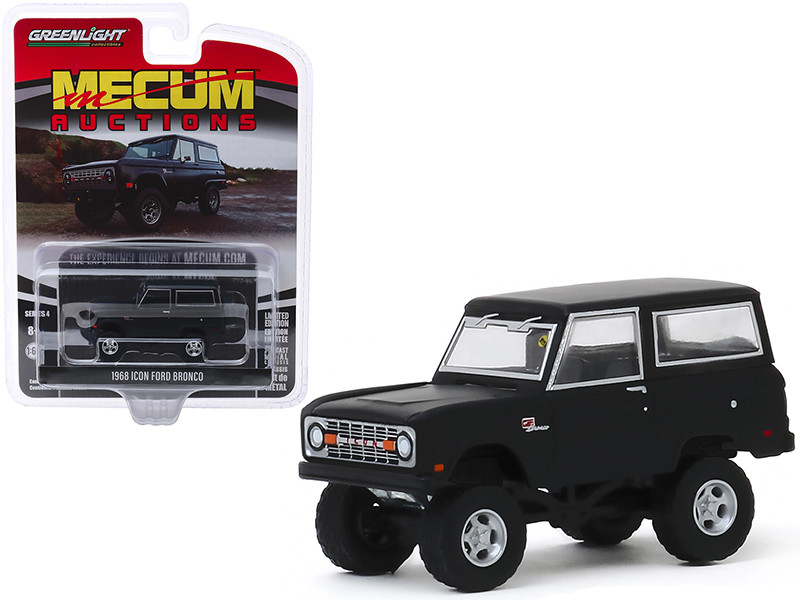 1968 Ford Icon Bronco Volcanic Matt Black Houston 2019 Mecum Auctions Collector Cars Series 4 1/64 Diecast Model Car Greenlight 37190 B