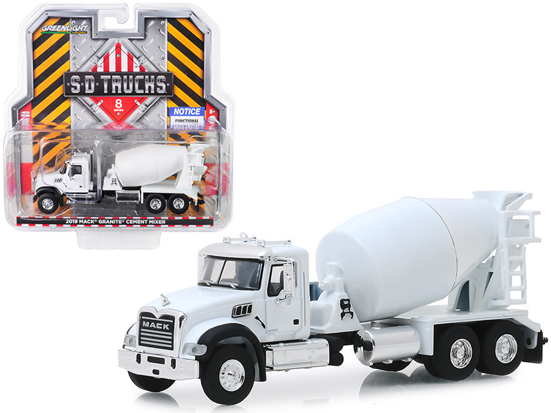 2019 Mack Granite Cement Mixer White SD Trucks Series 8 1/64 Diecast Model Greenlight 45080 B