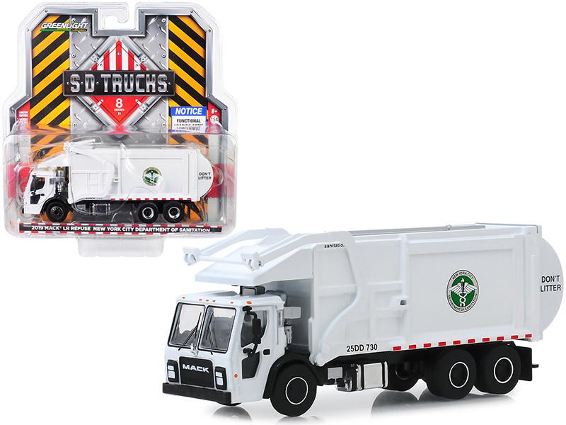 2019 Mack LR Refuse Recycle Garbage Truck White DSNY New York City Department Of Sanitation SD Trucks Series 8 1/64 Diecast Model Greenlight 45080 C