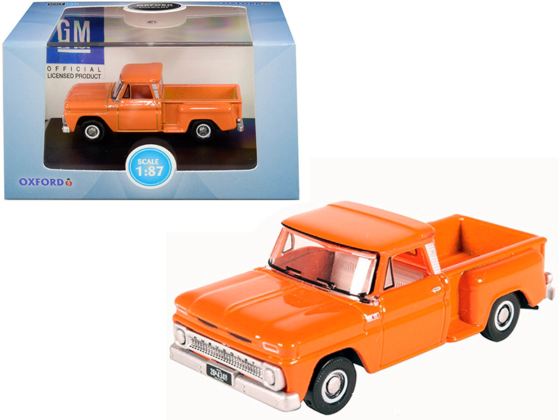 1965 Chevrolet C10 Stepside Pickup Truck Orange 1/87 HO Scale Diecast Model Car Oxford Diecast 87CP65002