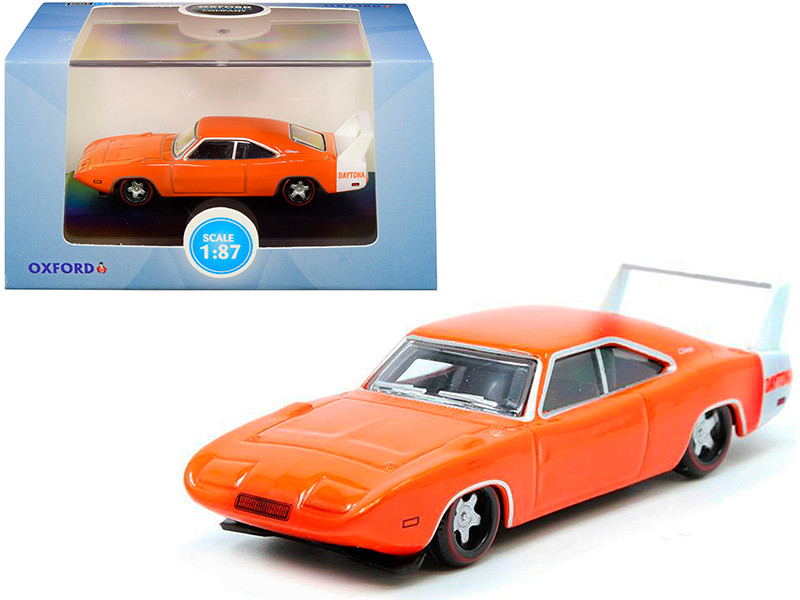 1969 Dodge Charger Daytona Orange White Stripe 1/87 HO Scale Diecast Model Car Oxford Diecast 87DD69002