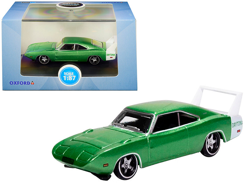 1969 Dodge Charger Daytona Metallic Bright Green White Stripe 1/87 HO Scale Diecast Model Car Oxford Diecast 87DD69003