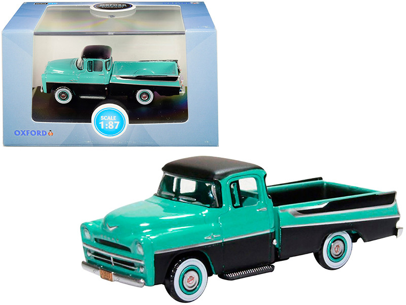 1957 Dodge D100 Sweptside Pickup Truck Turquoise Jewel Black 1/87 HO Scale Diecast Model Car Oxford Diecast 87DP57002