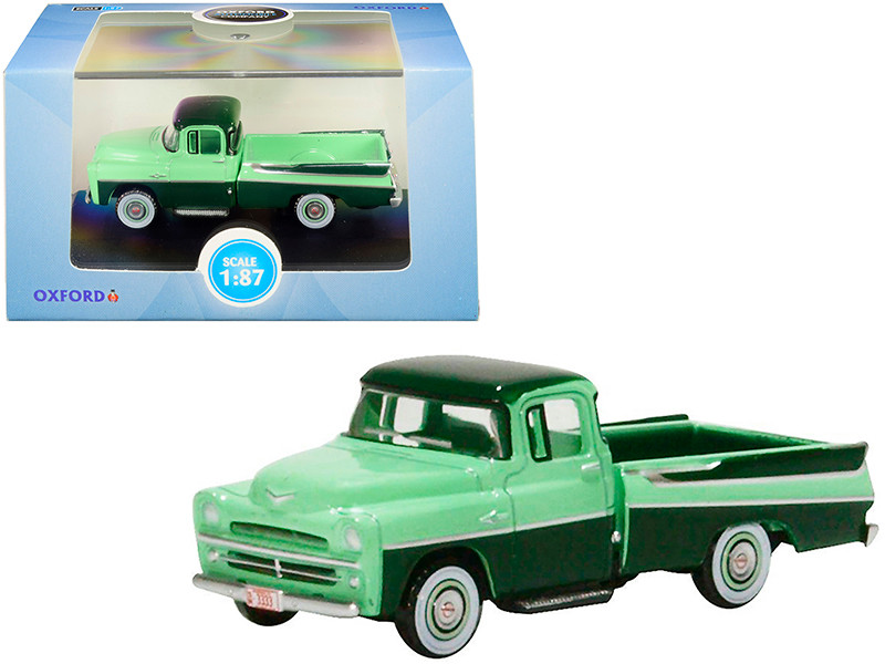 1957 Dodge D100 Sweptside Pickup Truck Forest Green Misty Green 1/87 HO Scale Diecast Model Car Oxford Diecast 87DP57003