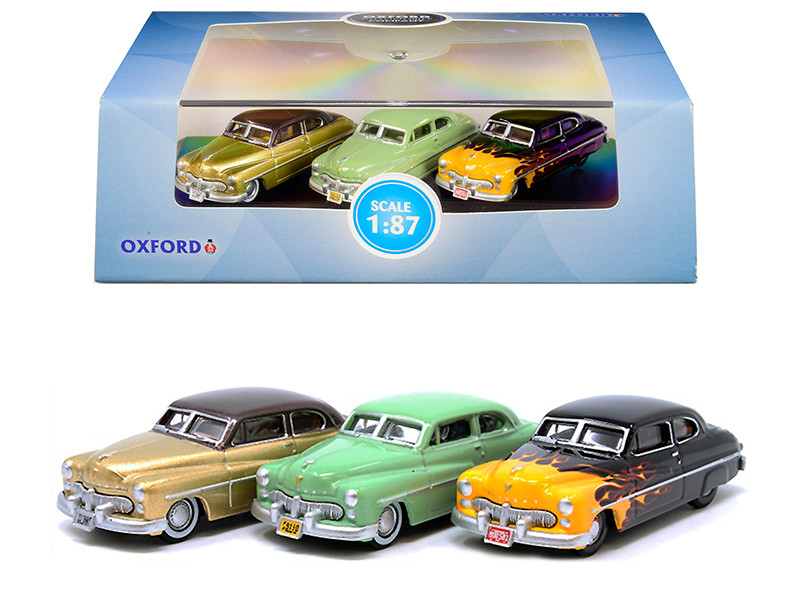 1949 Mercury Set of 3 Cars 70th Anniversary 1/87 HO Scale Diecast Model Cars Oxford Diecast 87SET002