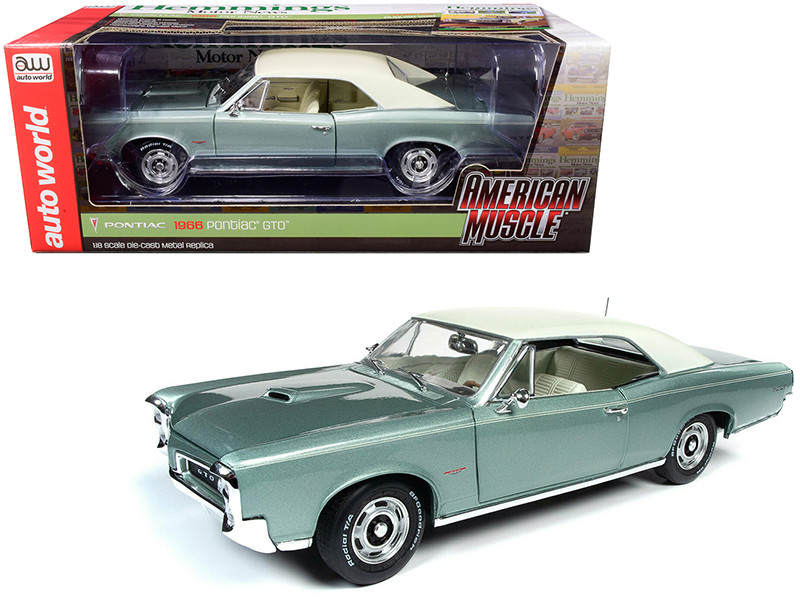 1966 Pontiac GTO Hardtop Palmetto Green Metallic Hemmings Motor News Magazine Cover Car August 2016 1/18 Diecast Model Car Autoworld AMM1192