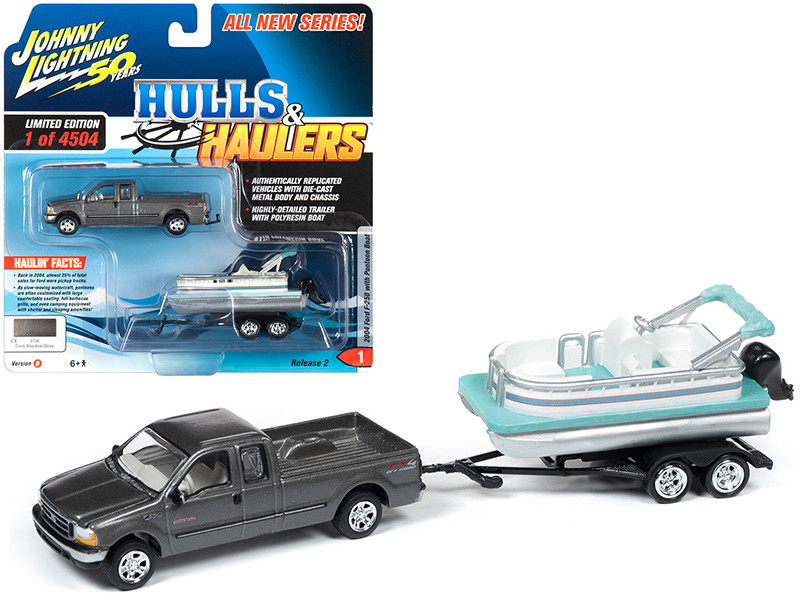 2004 Ford F-250 Pickup Truck Dark Shadow Gray Metallic Pontoon Boat Limited Edition 4504 pieces Worldwide Hulls & Haulers Series 2 Johnny Lightning 50th Anniversary 1/64 Diecast Model Car Johnny Lightning JLBT012B JLSP069