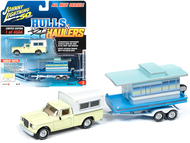 1960 Studebaker Pickup Truck Camper Shell Jonquil Yellow Houseboat Limited Edition 4504 pieces Worldwide Hulls & Haulers Series 2 Johnny Lightning 50th Anniversary 1/64 Diecast Model Car Johnny Lightning JLBT012B JLSP070