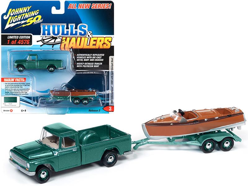 1965 International 1200 Pickup Truck Medium Turquoise Metallic Split-Cockpit Boat Limited Edition 4576 pieces Worldwide Hulls & Haulers Series 2 Johnny Lightning 50th Anniversary 1/64 Diecast Model Car Johnny Lightning JLBT012B JLSP071