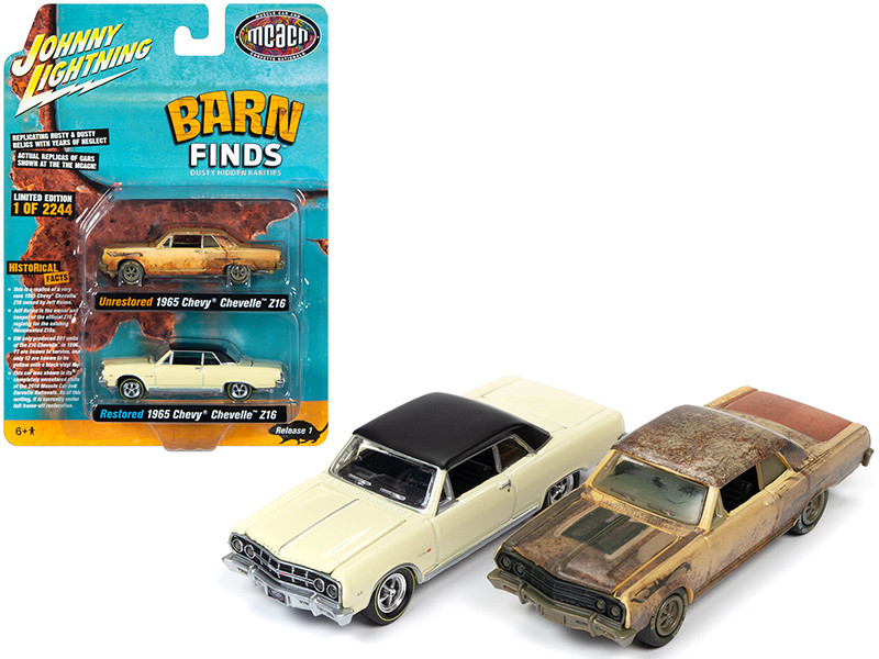 1965 Chevrolet Chevelle Z16 Crocus Yellow Unrestored Version and Restored Version 2 piece Set Muscle Car & Corvette Nationals MCACN Barn Finds Limited Edition 2244 pieces Worldwide 1/64 Diecast Model Cars Johnny Lightning JLPK009