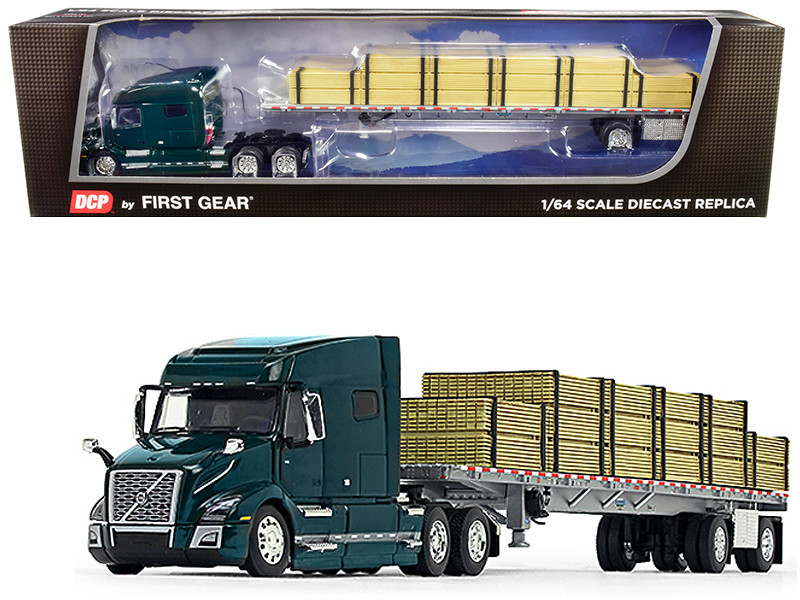 Volvo VNL 760 Mid-Roof Sleeper Cab Forest Green Wilson Flatbed Trailer Lumber Load 1/64 Diecast Model DCP First Gear 60-0641