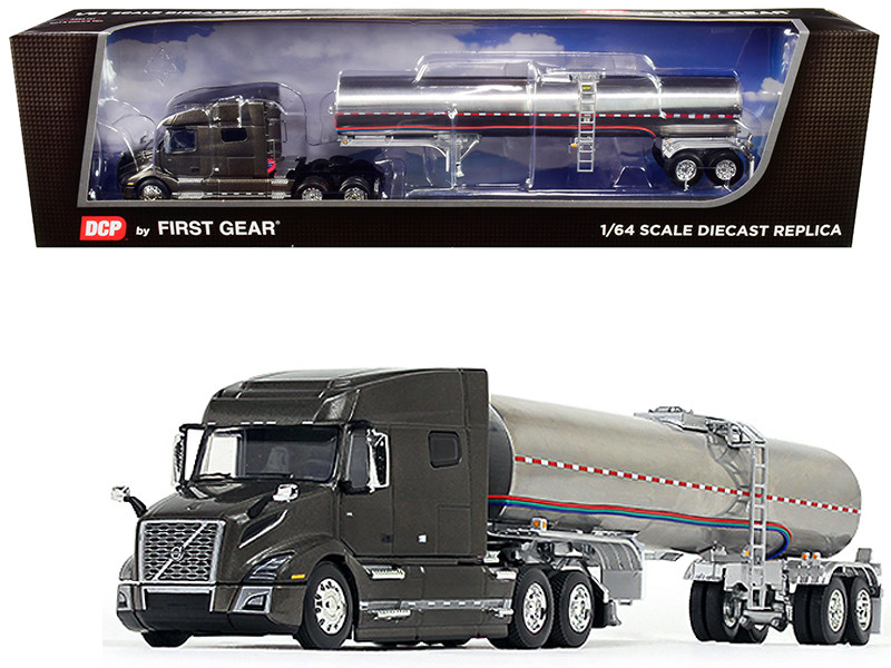 Volvo VNL 740 Mid-Roof Sleeper Cab Urban Bronze Metallic Chrome Brenner Food-Grade Tank Trailer 1/64 Diecast Model DCP First Gear 60-0642