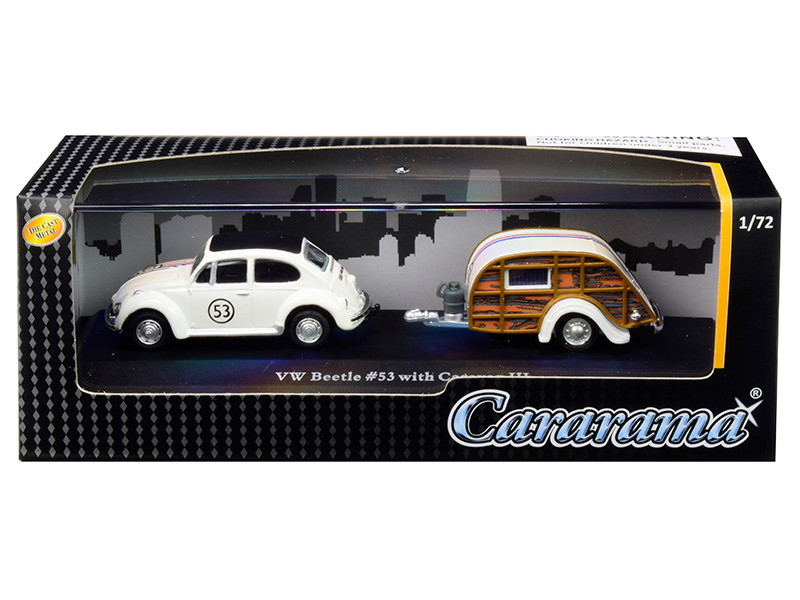 Volkswagen Beetle Racing #53 Caravan III Travel Trailer Display Showcase 1/72 Diecast Model Car Cararama 12812 M