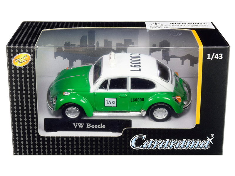Volkswagen Beetle Taxi Green White 1/43 Diecast Model Car Cararama 41547
