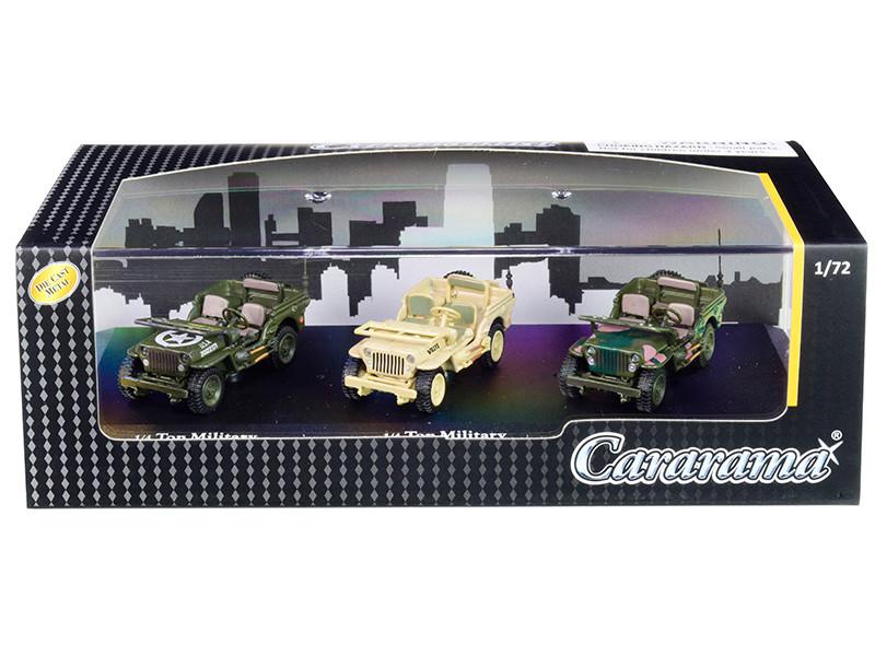 1/4 Ton Military Vehicles Set 3 pieces Display Showcase 1/72 Diecast Model Cars Cararama 71314 M