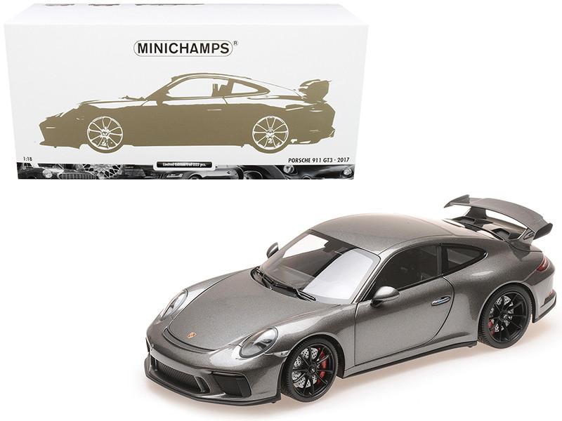2017 Porsche 911 GT3 Gray Metallic Limited Edition 222 pieces Worldwide 1/18 Diecast Model Car Minichamps 110067034