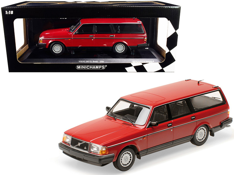 1986 Volvo 240 GL Break Red Limited Edition 600 pieces Worldwide 1/18 Diecast Model Car Minichamps 155171411