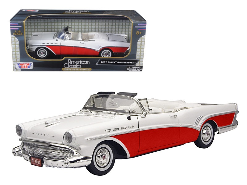 1957 Buick Roadmaster Convertible Red 1/18 Diecast Model Car Motormax 73152