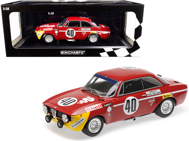 Alfa Romeo GTA 1300 Junior #40 Picchi Chasseuil Winners Division 1 12H Paul Ricard 1971 Limited Edition 336 pieces Worldwide 1/18 Diecast Model Car Minichamps 155711240