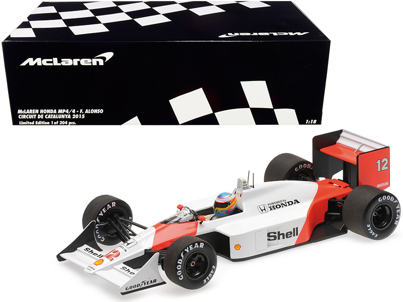 McLaren Honda MP4/4 #12 Fernando Alonso Circuit de Catalunya 2015 Limited Edition 204 pieces Worldwide 1/18 Diecast Model Car Minichamps 530881814