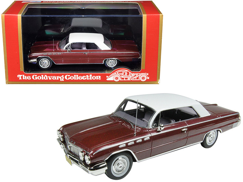 1962 Buick Electra 225 Burgundy Metallic White Top Limited Edition 210 pieces Worldwide 1/43 Model Car Goldvarg Collection GC-013 B