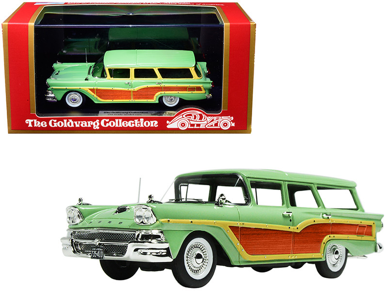 1958 Ford Country Squire Seaspray Green Woodgrain Panels Vote for Kennedy Bumper Sticker Limited Edition 235 pieces Worldwide 1/43 Model Car Goldvarg Collection GC-014 B
