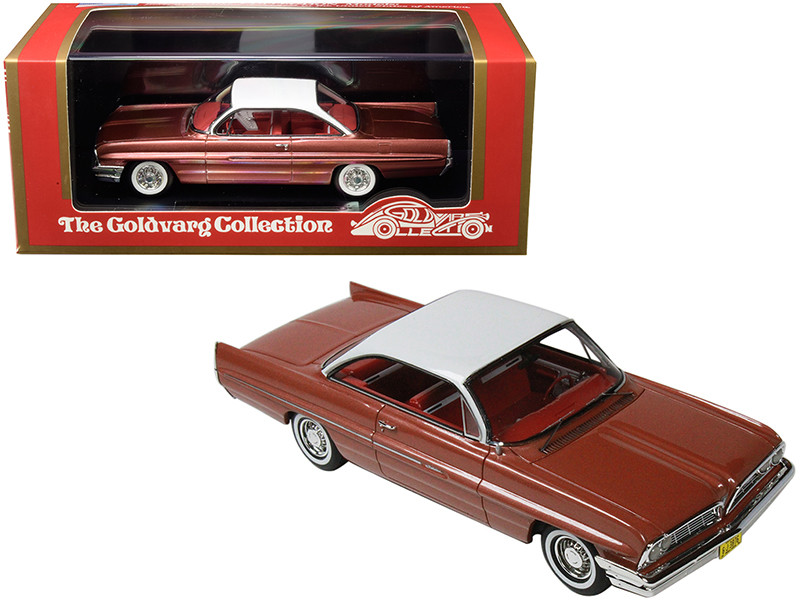 1961 Pontiac Catalina Rose Metallic White Top Red Interior Limited Edition 210 pieces Worldwide 1/43 Model Car Goldvarg Collection GC-017 B
