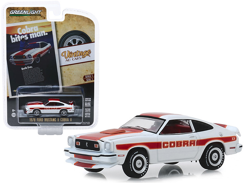 1978 Ford Mustang II Cobra II White Red Orange Stripes Cobra Bites Man Both Live Vintage Ad Cars Series 1 1/64 Diecast Model Car Greenlight 39020 F