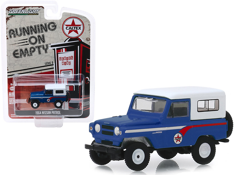 1964 Nissan Patrol Blue White Top Caltex Running on Empty Series 9 1/64 Diecast Model Car Greenlight 41090 B