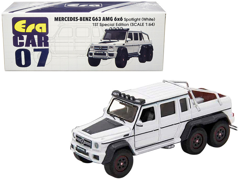 Mercedes Benz G63 AMG 6x6 Pickup Truck Spotlight White 1st Special Edition 1/64 Diecast Model Car Era Car MB196X6RF07