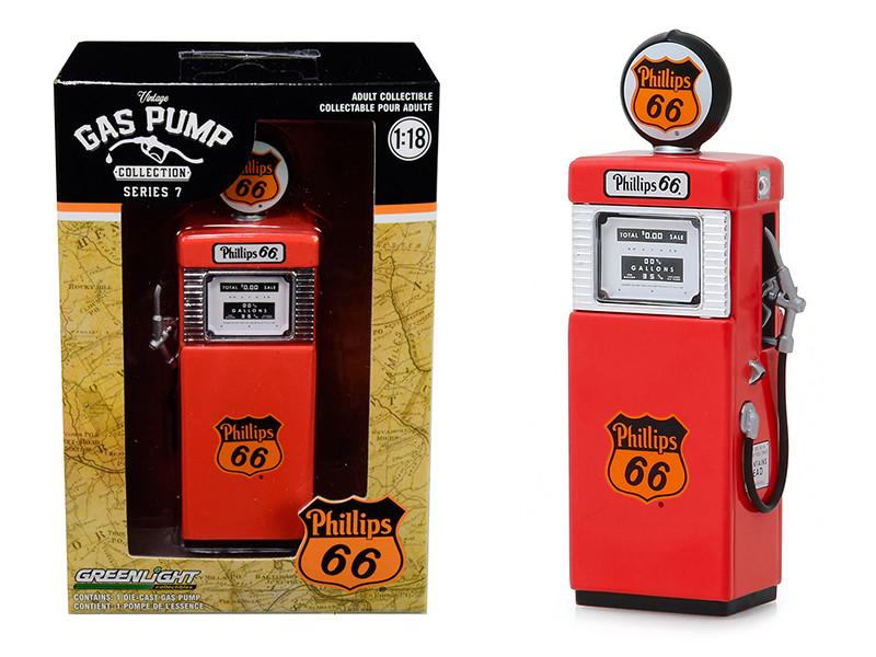 1951 Wayne 505 Gas Pump Phillips 66 Vintage Gas Pumps Series 7 1/18 Diecast Model Greenlight 14070 A