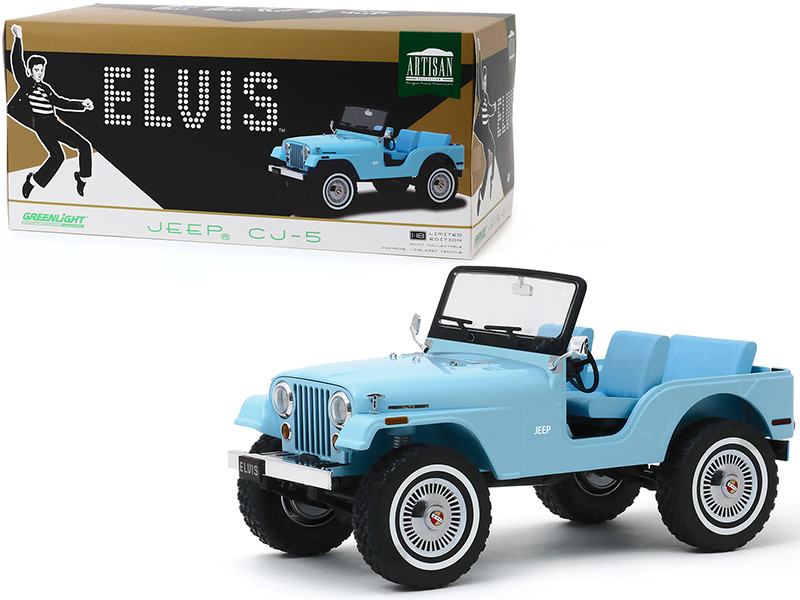 Jeep CJ-5 Sierra Blue Elvis Presley 1935 1977 1/18 Diecast Model Car Greenlight 19061