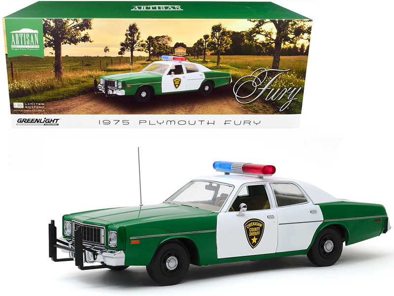 1975 Plymouth Fury Chickasaw County Sheriff Green White 1/18 Diecast Model Car Greenlight 19076