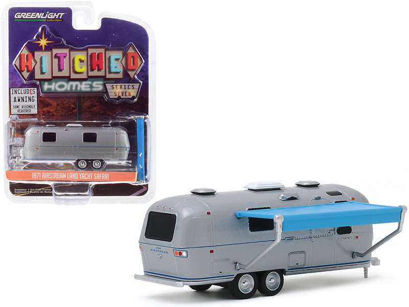 1971 Airstream Land Yacht Safari Travel Trailer Silver Metallic Awning Hitched Homes Series 7 1/64 Diecast Model Greenlight 34070 C