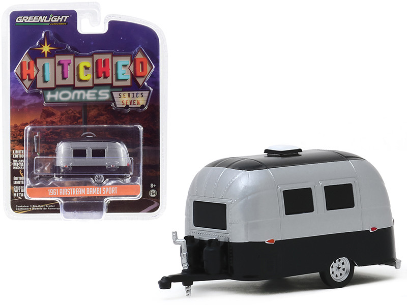 1961 Airstream 16' Bambi Sport Travel Trailer Silver Metallic Black Hitched Homes Series 7 1/64 Diecast Model Greenlight 34070 E