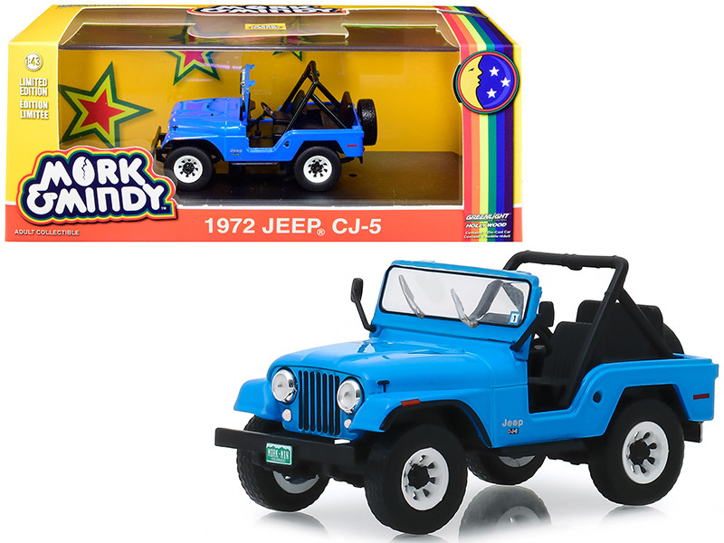 1972 Jeep CJ-5 Blue Mork & Mindy 1978 1982 TV Series 1/43 Diecast Model Car Greenlight 86570