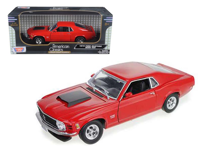 1970 Ford Mustang Boss 429 Red 1/18 Diecast Car Model Motormax 73154