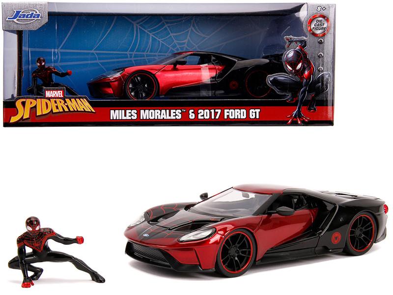 2017 Ford GT Miles Morales Diecast Figurine Spider Man Marvel Series 1/24 Diecast Model Car Jada 31190