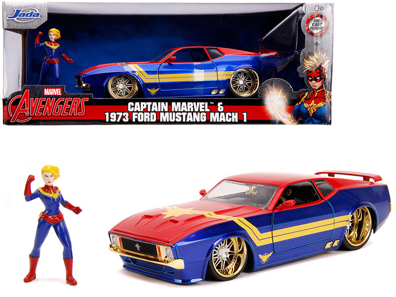 1973 Ford Mustang Mach 1 Captain Marvel Diecast Figurine Avengers Marvel Series 1/24 Diecast Model Car Jada 31193