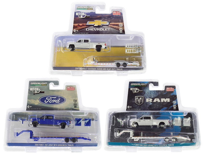 Hitch & Tow Set of 3 Pickup Trucks Limited Edition 2438 pieces Worldwide 1/64 Diecast Model Cars Greenlight 51306 51307 51308