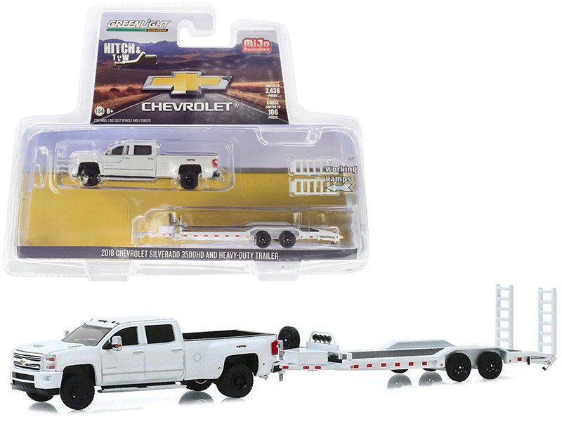 2018 Chevrolet Silverado 3500HD Pickup Truck Heavy-Duty Flatbed Trailer White Hitch & Tow Series Limited Edition 2438 pieces Worldwide 1/64 Diecast Model Car Greenlight 51306